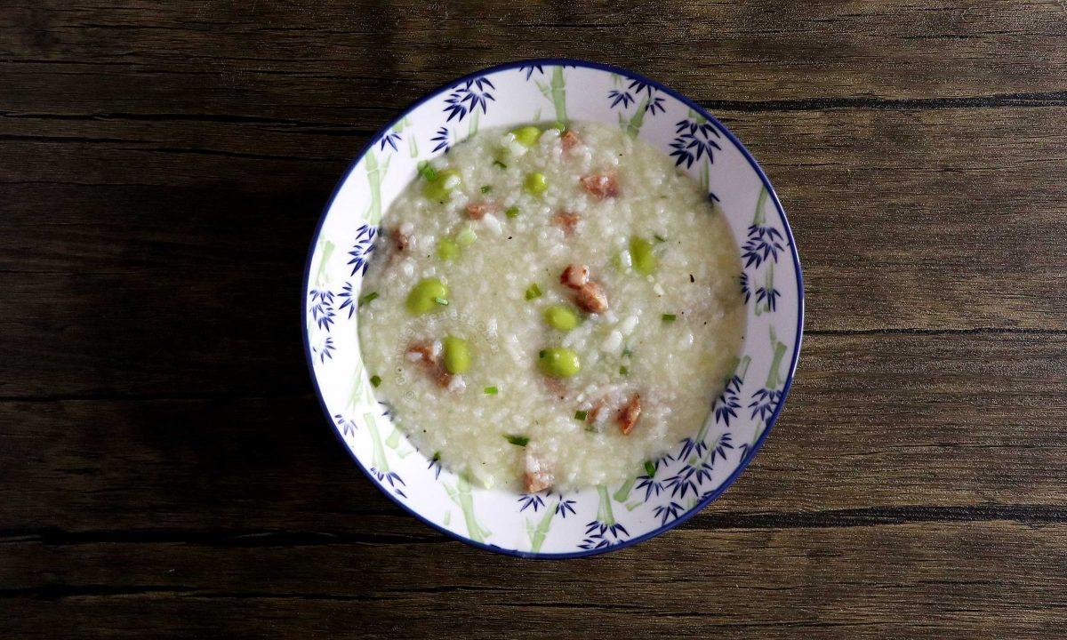 Congee with Chinese sausage and edamame