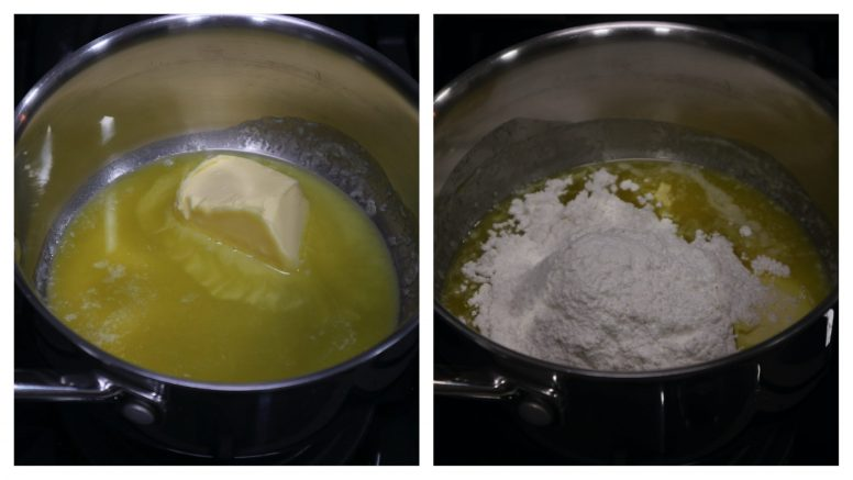 How to make Bechamel sauce, step 1: Melt butter, add flour