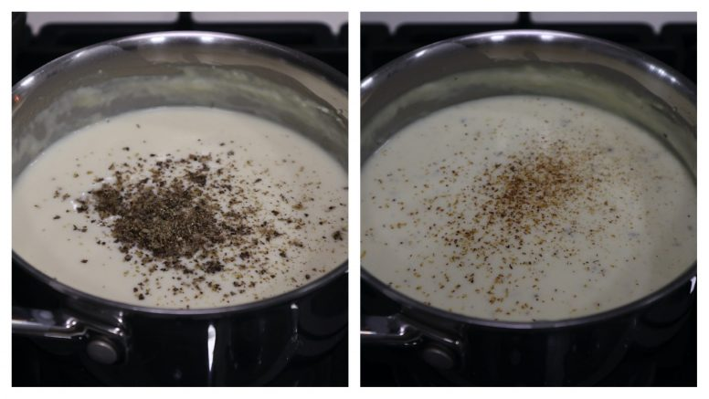 How to make Bechamel sauce: season and add nutmeg
