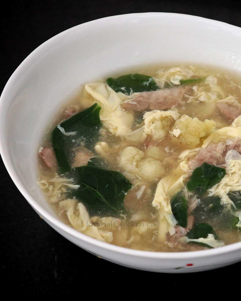 Egg Drop Soup with Chicken Cauliflower and Spinach