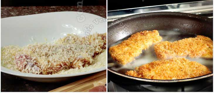 Rolling chicken fillets in panko and frying