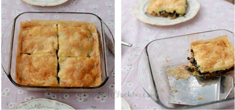 Chicken Mushroom Spinach Pot Pie in Square Glass Baking Dish