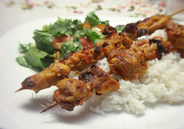 Chicken Tikka with Rice and Side Salad