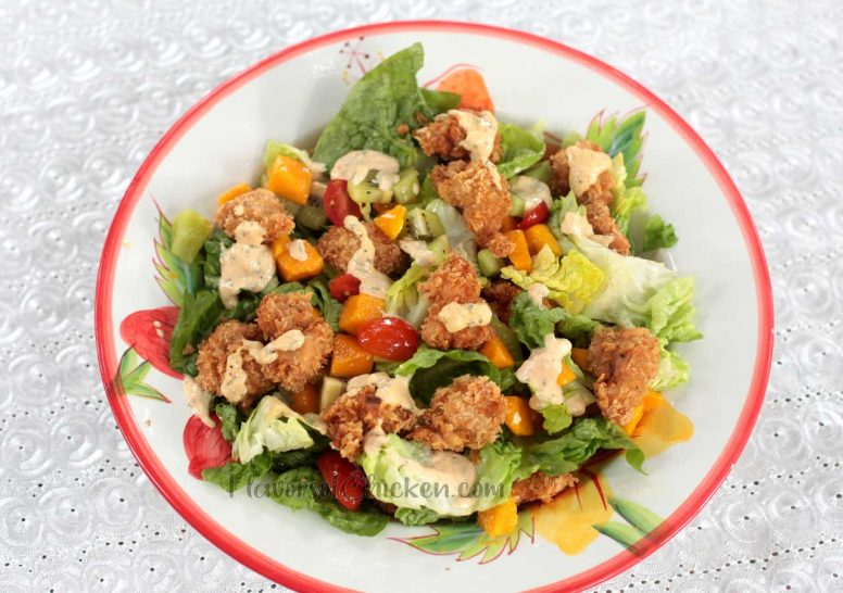 Popcorn Chicken Salad with Fruits and Vegetables