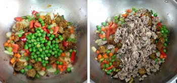 Adding chopped chicken livers to andouille and vegetables in pan