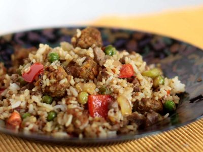 Close-up of Cajun dirty rice in bowl