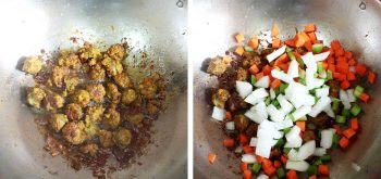 Frying andouille with vegetables