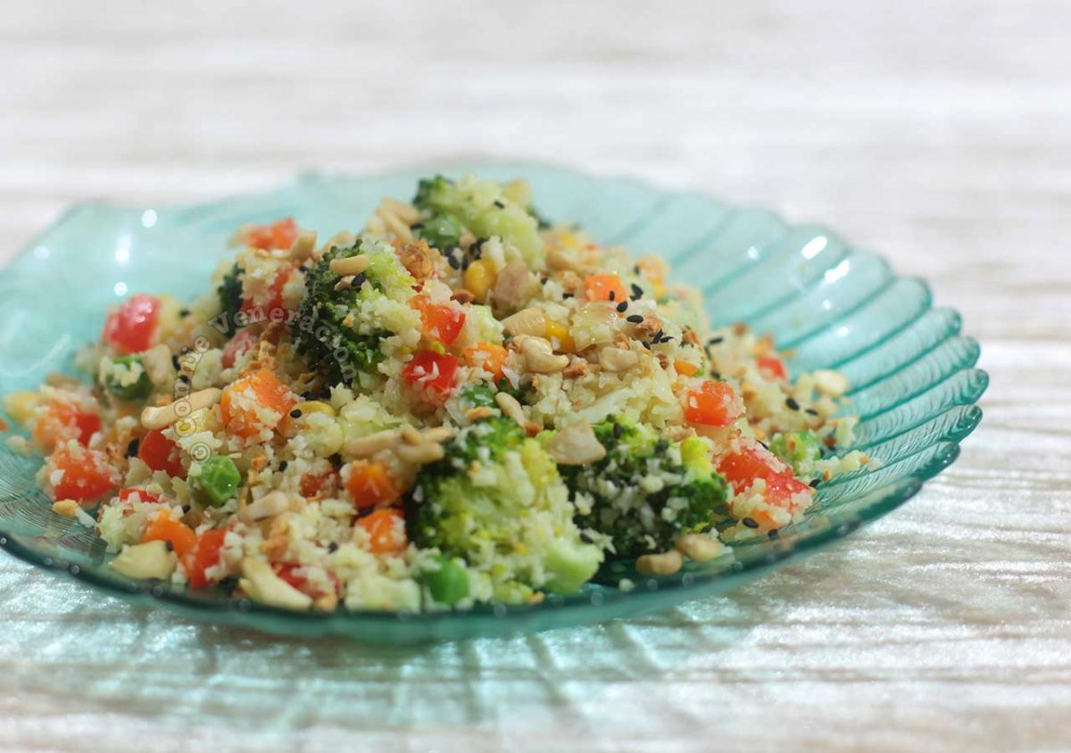 "Cauliflower ""Fried Rice"" With Nuts and Sesame Seeds"