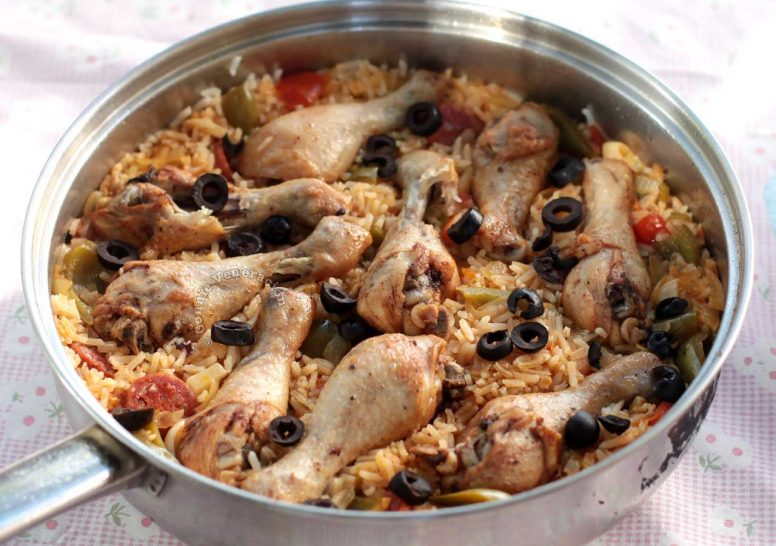 Paella-style Chicken and Chorizo Rice Casserole with Black Olives, Paparika and Bell Peppers