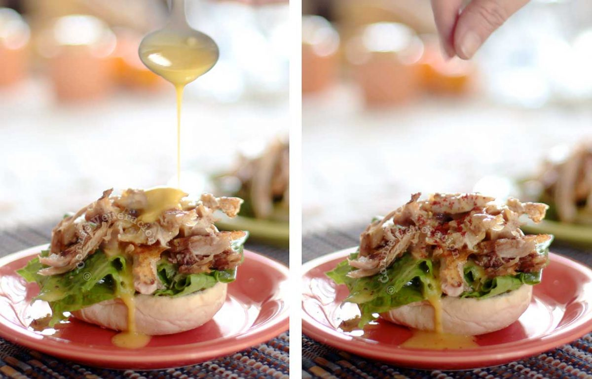 Drizzling Hollandaise sauce and sprinkling cayenne over shredded chicken sandwich filling