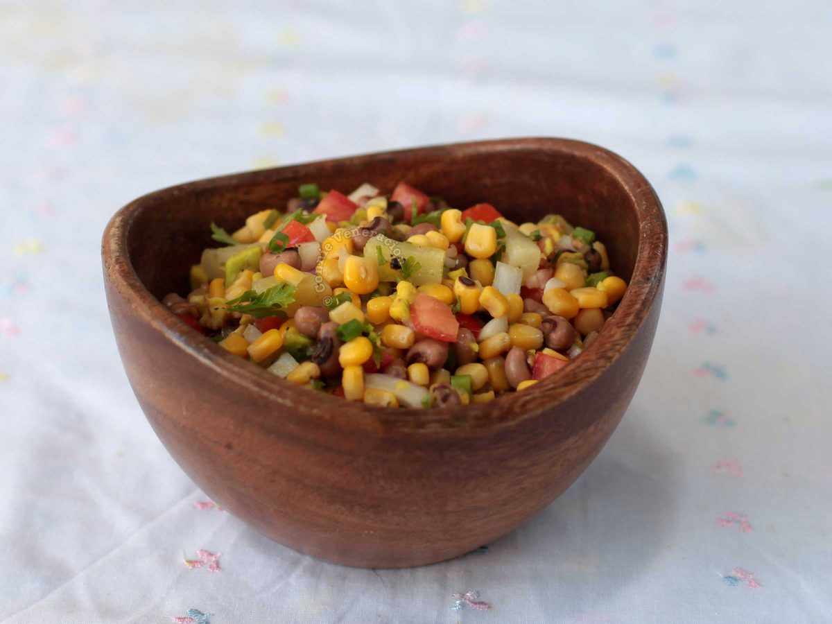 Corn and Bean Salad in Wooden Bowl