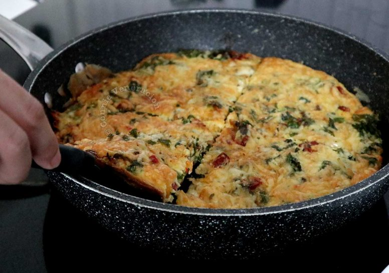 Kale torta with salami and cheese