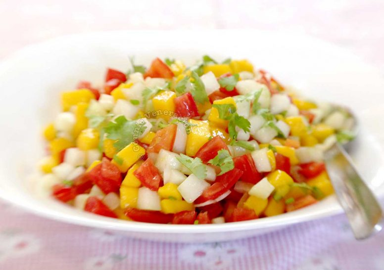 Mango, Cucumber and Tomato Salad Sprinkled with Cilantro