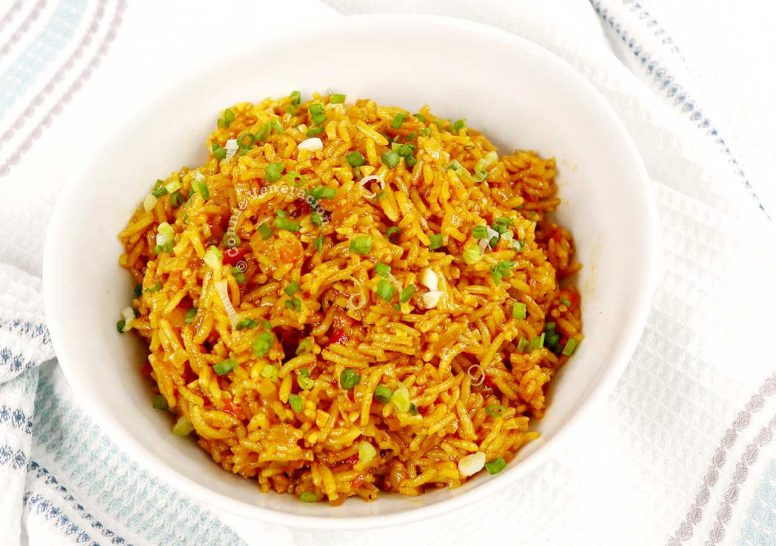 Mexican rice garnished with scallions