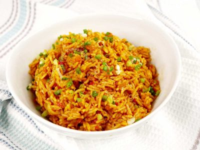 Mexican rice in a serving bowl