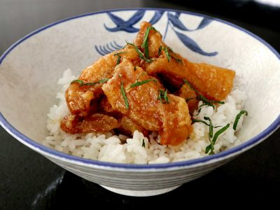Chinese-inspired Lemon Orange Chicken Served Over Rice