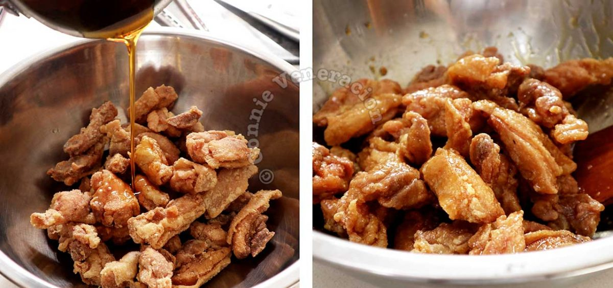 Tossing fried chicken fillets in reduced and cooled lemon orange sauce