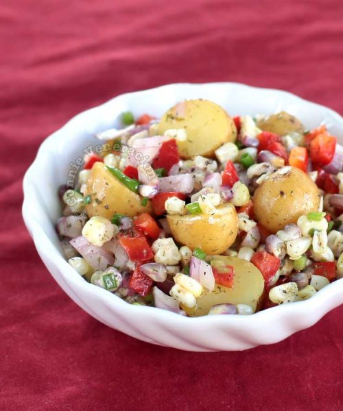 Baby Potatoes and Corn Salad With Lemon Butter Garlic Dressing