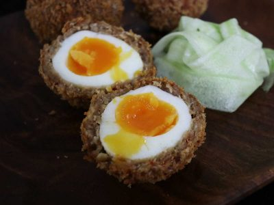 Scotch egg with runny yolk