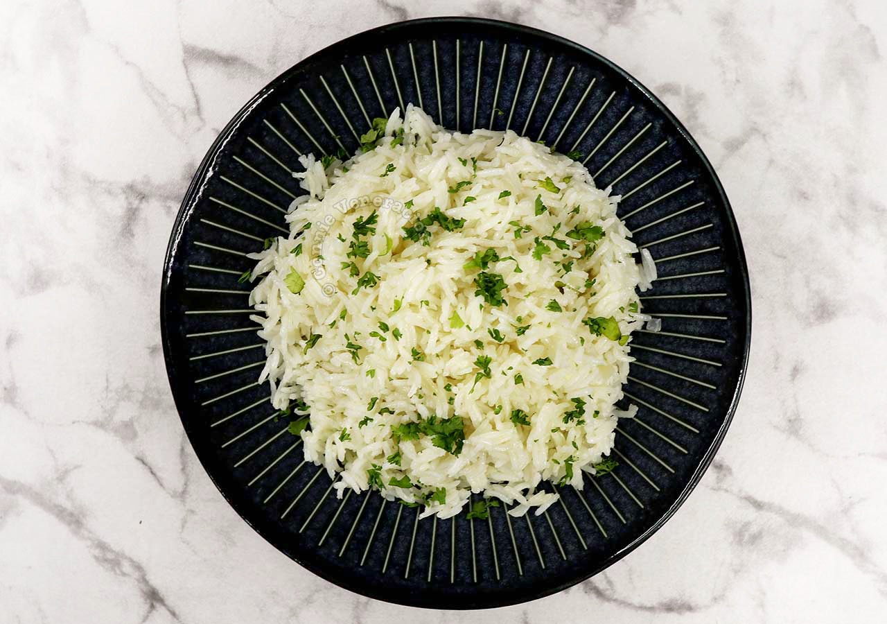 Mexican-style White Rice in Dark Blue Bowl