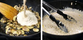 Pouring cream over cooked mushrooms