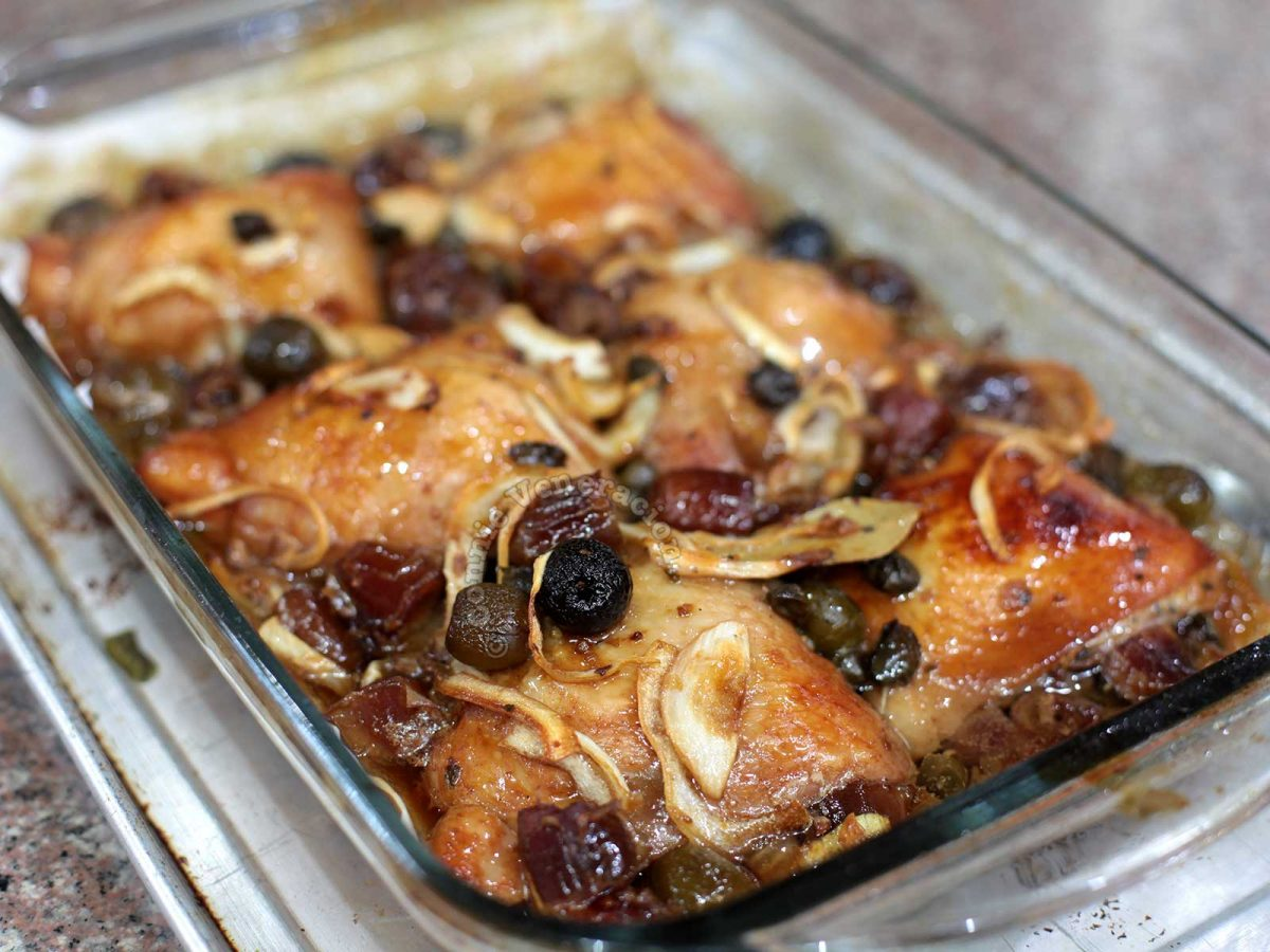 Chicken marbella after roasting in the oven