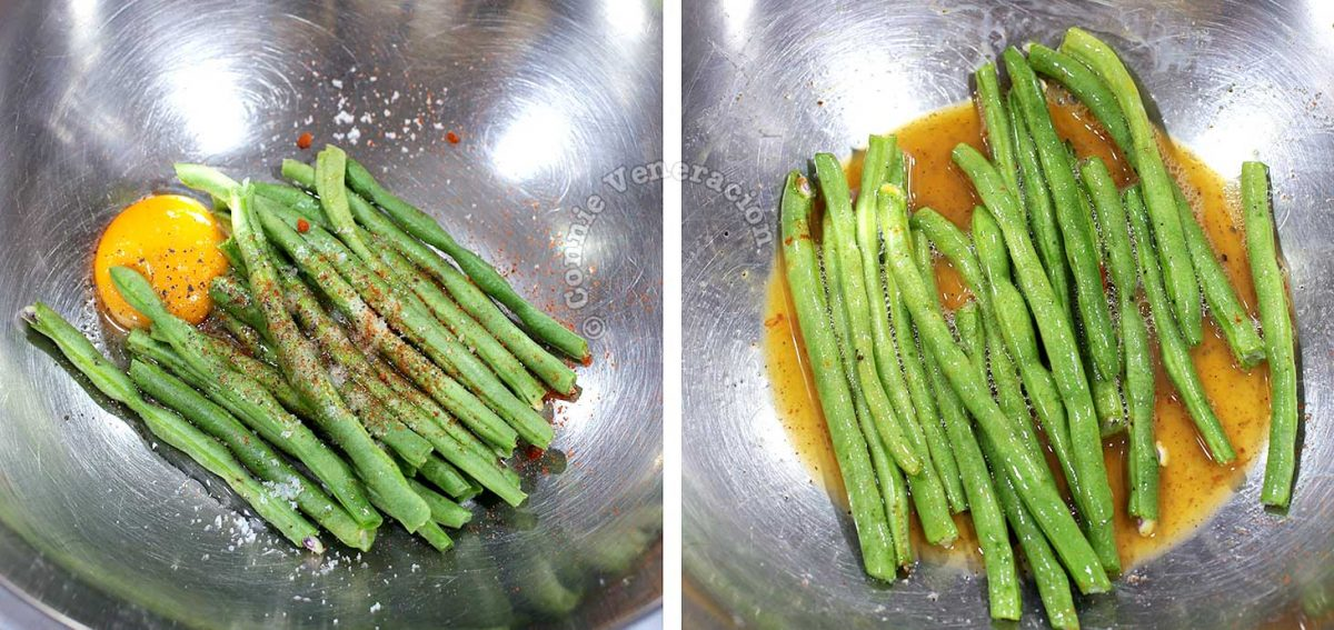 Seasoning green beans and tossing with egg in bowl