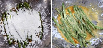 Adding flour to green beans and egg to make batter