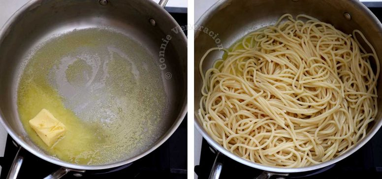 Tossing pasta in melted butter