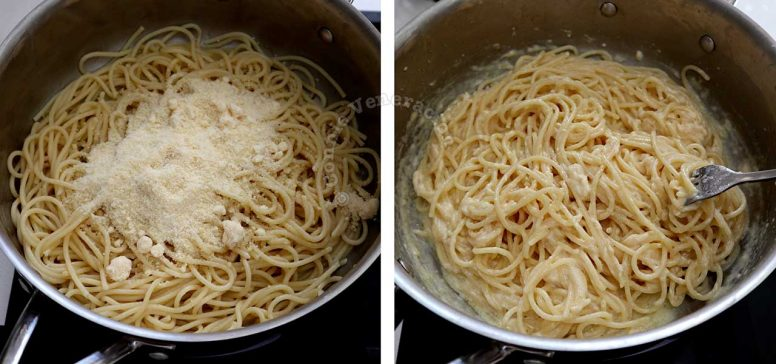 Adding grated Parmesan to pasta tossed in butter