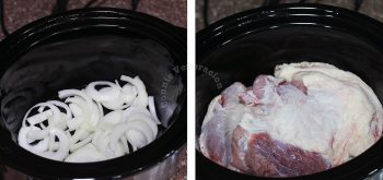 Lining bottom of slow cooker with onion sliced before adding meat to prevent sticking