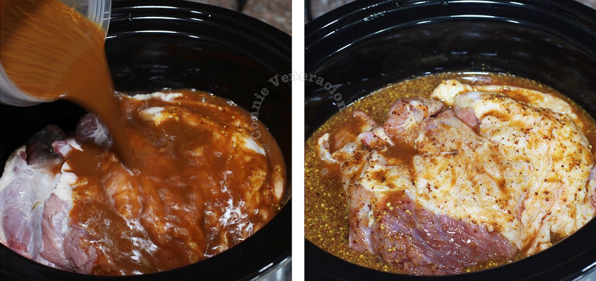 Pouring BBQ sauce over beef brisket in slow cooker