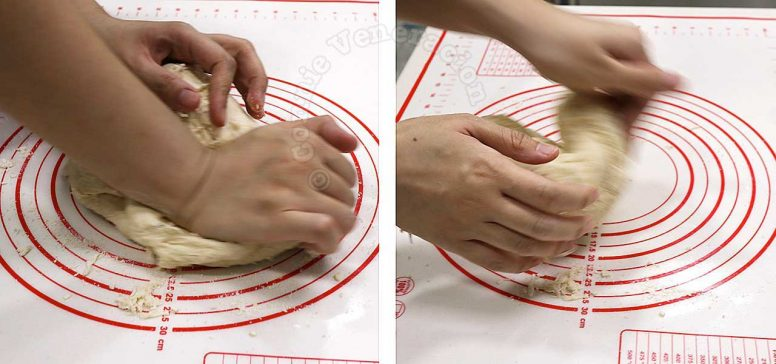 Kneading bread dough by hand