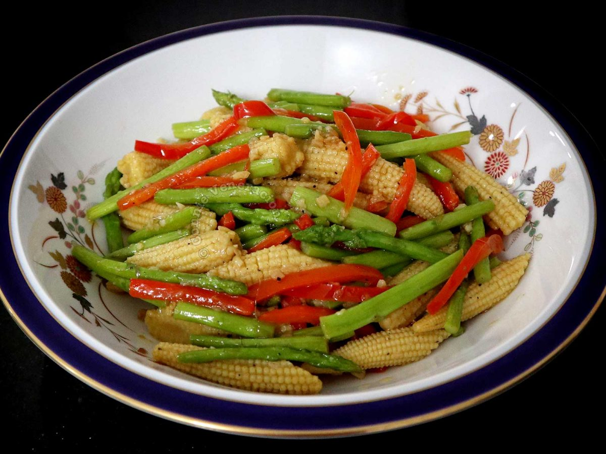 Side Dish of Garlic Butter Asparagus and Baby Corn