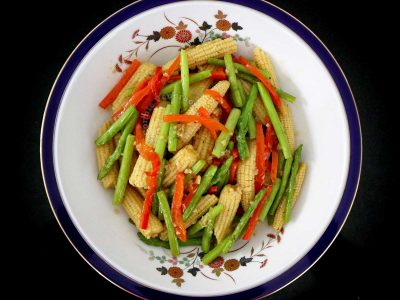 Garlic Butter Asparagus and Baby Corn