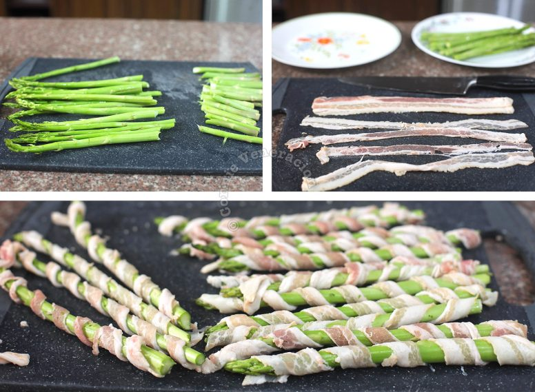Wrapping asparagus with bacon rashers