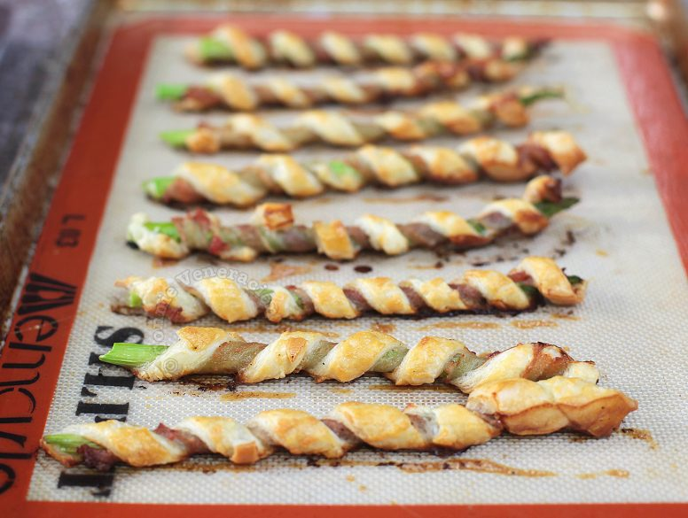 Bacon Asparagus Puff Pastry Spirals Fresh from the Oven