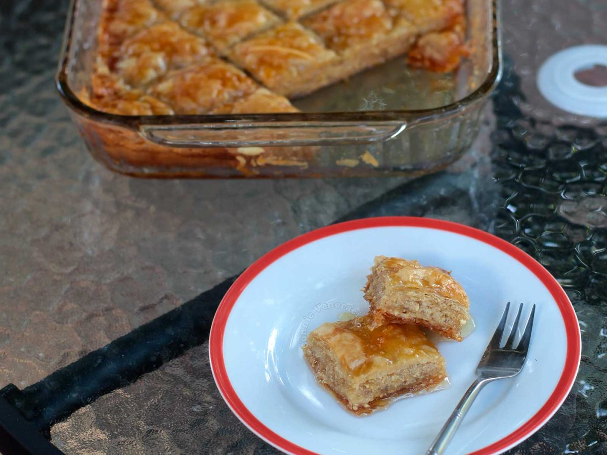 Baklava squares on plate