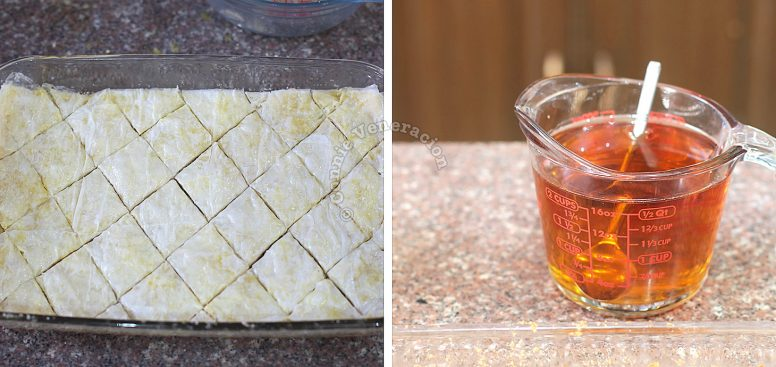 Cutting baklava into squares before baking
