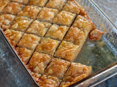 Baklava in baking tray