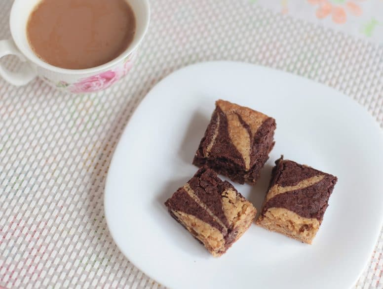 Butterscotch and Chocolate Combo Brownies Served with Coffee