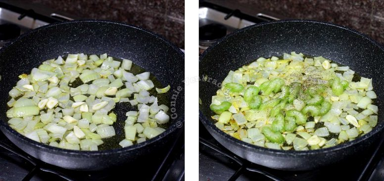 Sauteeing vegetables in olive oil