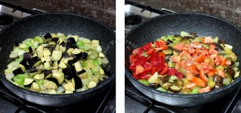 Cooking vegetables in olive oil to make caponata