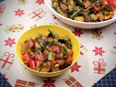 Caponata in yellow bowl