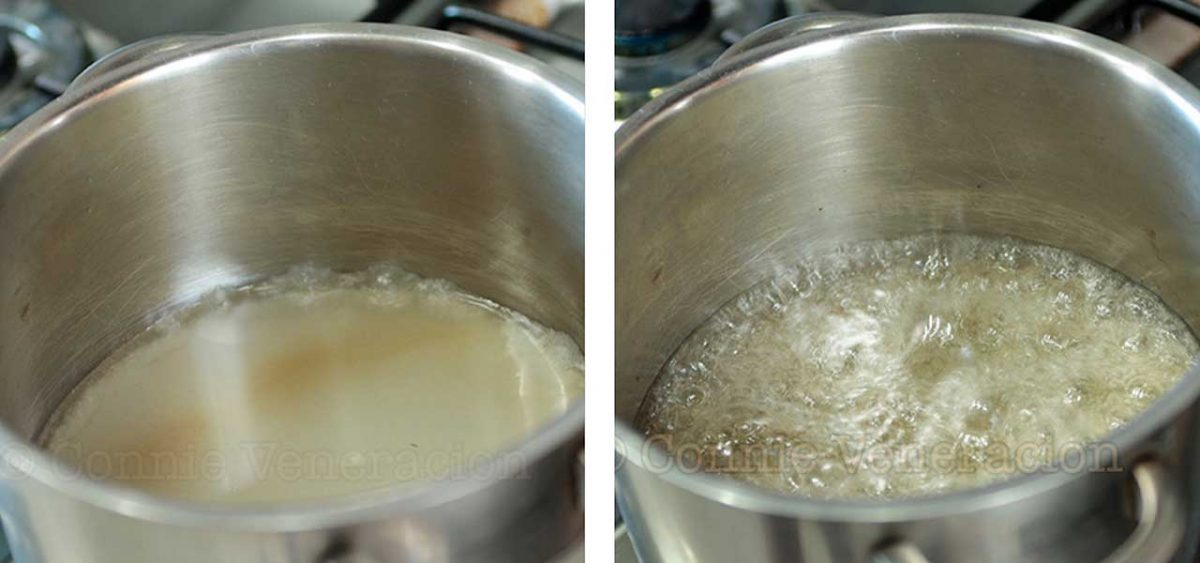 Boiling water and sugar
