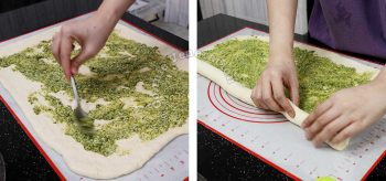 Spreading pesto and cheese on flattened bread dough