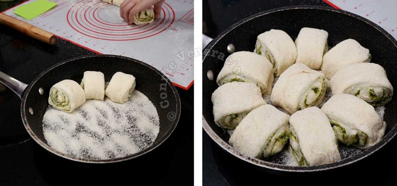 Arranging cut bread rolls in cast iron pan sprinkled with semolina
