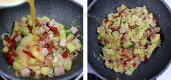 Pouring in beaten eggs over ham, potatoes, onions and bell peppers to make Bauernfrühstück (Farmer's Breakfast)