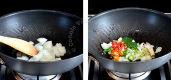 Sauteeing spices in a wok