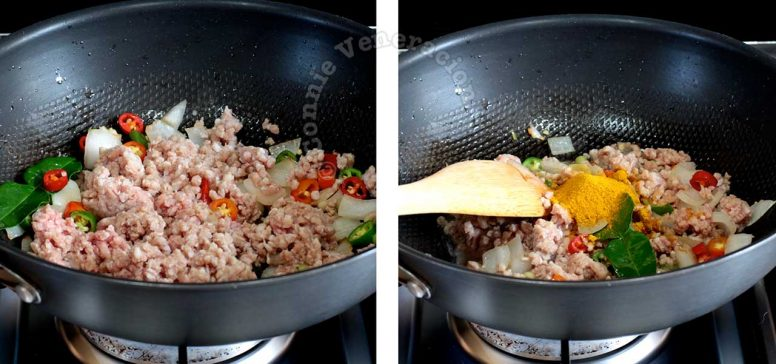 Browning ground pork with sauteed spices in a wok